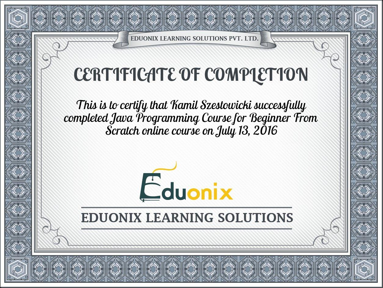 Completion Certificate For Java Programming Course For Beginner From